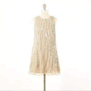 Parker Champagne Gold Silk Chiffon Sequin Dress